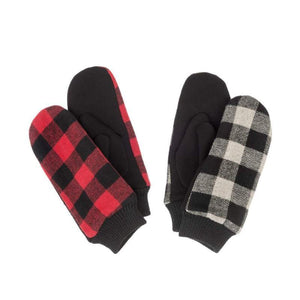 Plaid 'Buffalo' Mittens, 2 Asst. Colours - Floral Acres Greenhouse & Garden Centre