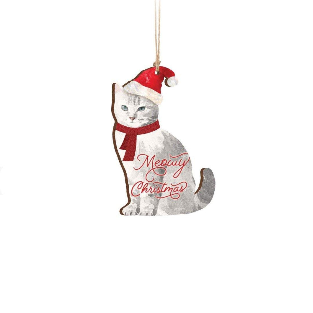 Cat Ornament, 3.5inx3.5in,, 'Meowy Christmas'