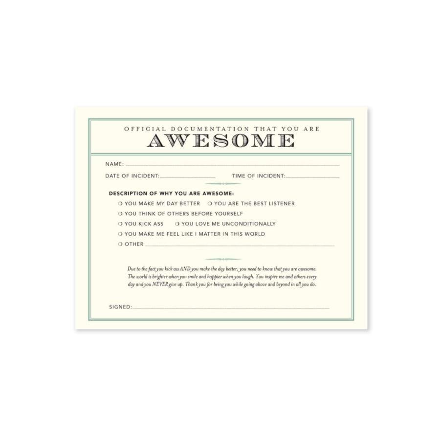 Receipt Card, 'Official You Are Awesome' - Floral Acres Greenhouse & Garden Centre