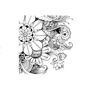 Mini Card, Black And White Line Art Floral Design - Floral Acres Greenhouse & Garden Centre