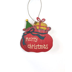 Ornament, Fir Wood w/ Holiday Sentiment, 3.5in