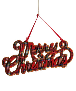 Polyester Plaid Merry Christmas Sign