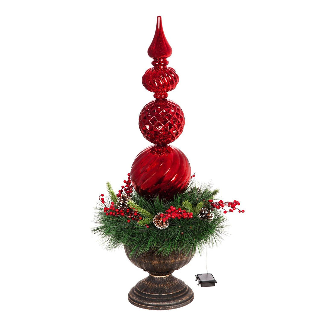 LED Battery Operated Ornament, Wreath in Urn, 36in
