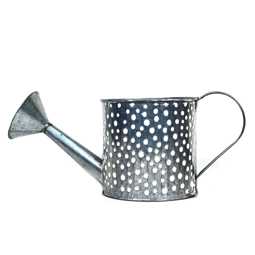 Pot, 6in, Zinc, Watering Can, White - Floral Acres Greenhouse & Garden Centre