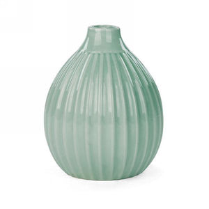 Ridged Round Vase, 6in, Mint Green - Floral Acres Greenhouse & Garden Centre