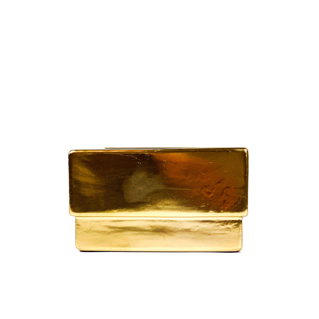 Planter, 6in, Ceramic, Square, Matte Gold,