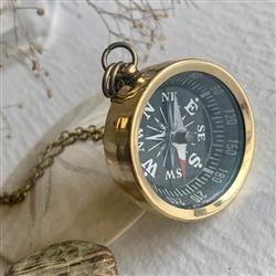 Necklace, True North Brass Compass - Floral Acres Greenhouse & Garden Centre