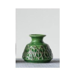 Embossed Stoneware Vase, Small, Green - Floral Acres Greenhouse & Garden Centre