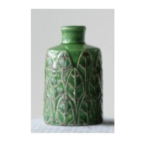 Embossed Stoneware Vase, Large, Green