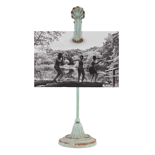 Photo Clip on Stand, Metal, 12in, Distressed Aqua - Floral Acres Greenhouse & Garden Centre