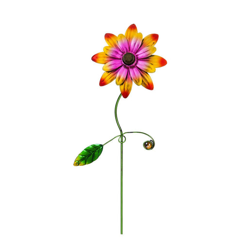 Plant Pick, Metallic Flower with Gem, 14in - Floral Acres Greenhouse & Garden Centre