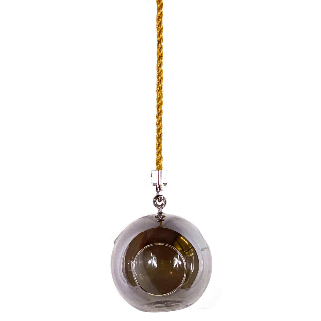 Vase, 5in, Glass, Ion-Plated Sphere Hanging - Floral Acres Greenhouse & Garden Centre