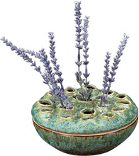Load image into Gallery viewer, Round Stoneware Lotus Vase, Turquoise Reactive Glz - Floral Acres Greenhouse & Garden Centre