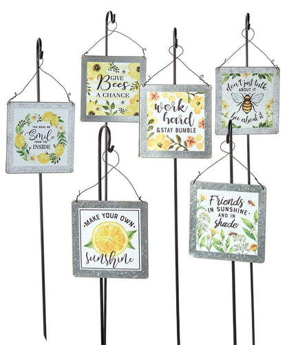 Plant Pick, Metal Sign w Bees Saying - Floral Acres Greenhouse & Garden Centre