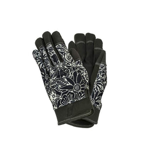 Black & White Floral Work Gloves, Two Sizes
