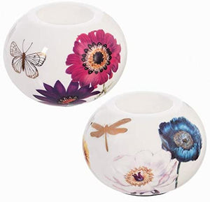 Tealight Holder, Vivid Bouquet, Round, Set of 2