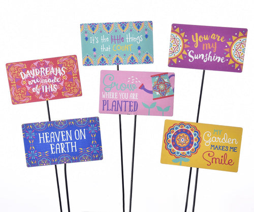 Plant Pick, Colourful Designs, 6in x 3.5in, Asst. - Floral Acres Greenhouse & Garden Centre