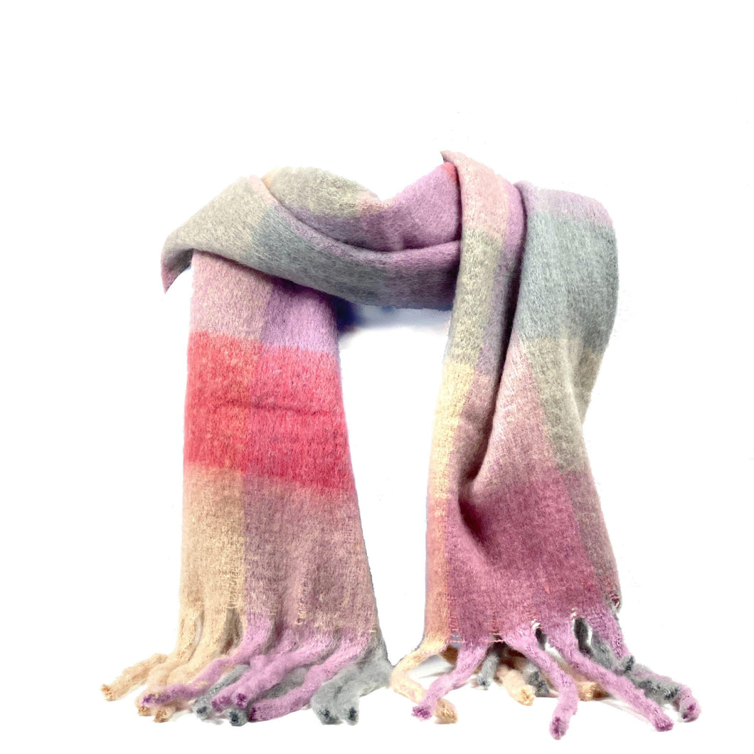 Plush Speckled Checkered Scarf w/Fringe, Pink/Grey - Floral Acres Greenhouse & Garden Centre
