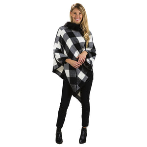 Poncho, Plaid w/ Faux Fur Trim, 2 Ast. Colours