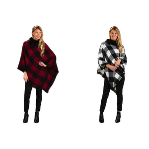 Poncho, Plaid w/ Faux Fur Trim, 2 Ast. Colours - Floral Acres Greenhouse & Garden Centre