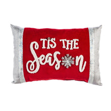 Load image into Gallery viewer, Lumbar Pillow, 'Tis The Season', Red & White