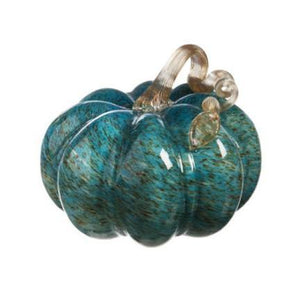Blue Glass Pumpkin, Medium
