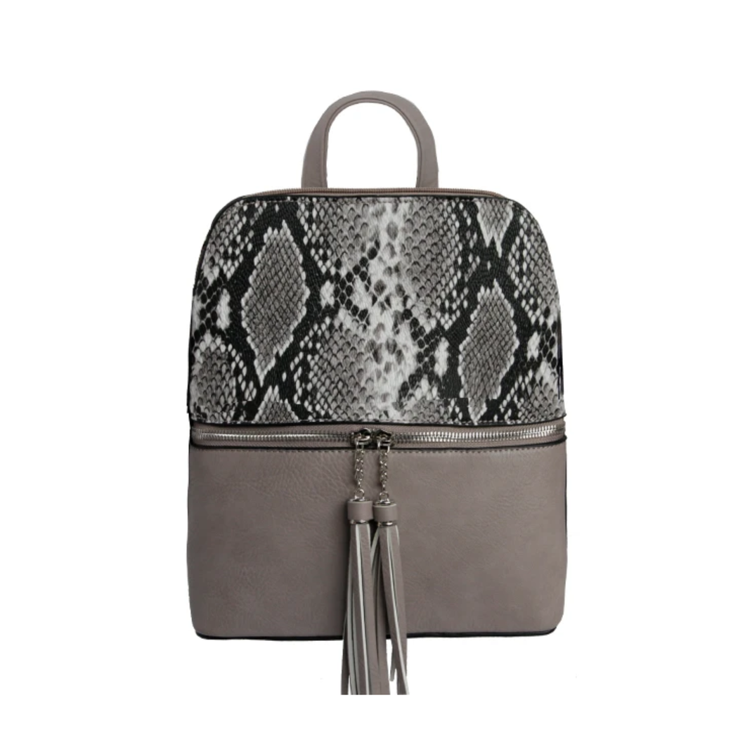 Backpack, Scarlett, Grey Snakeskin - Floral Acres Greenhouse & Garden Centre
