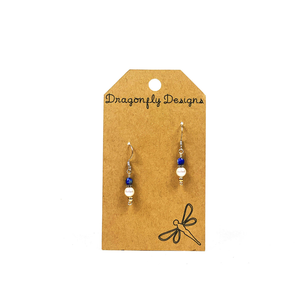 Earrings, Drop, Lapis Lazuli and Swarovski Pearl - Floral Acres Greenhouse & Garden Centre