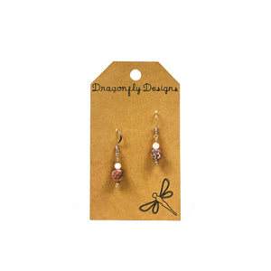 Earrings, Drop, Swarovski Pearl and Leopard Jasper - Floral Acres Greenhouse & Garden Centre