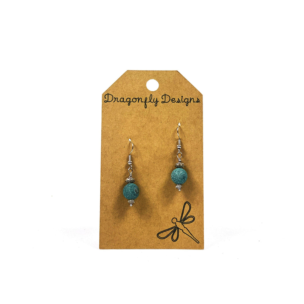 Earrings, Drop, Blue Crackle and Metal Beads - Floral Acres Greenhouse & Garden Centre