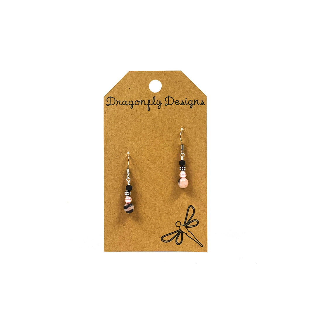 Earrings, Drop, Swarov Pearl/Leopard Jasper/Black - Floral Acres Greenhouse & Garden Centre