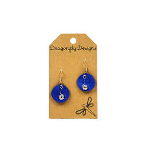 Earrings, Drop, Blue Leather with Metal Swirl - Floral Acres Greenhouse & Garden Centre