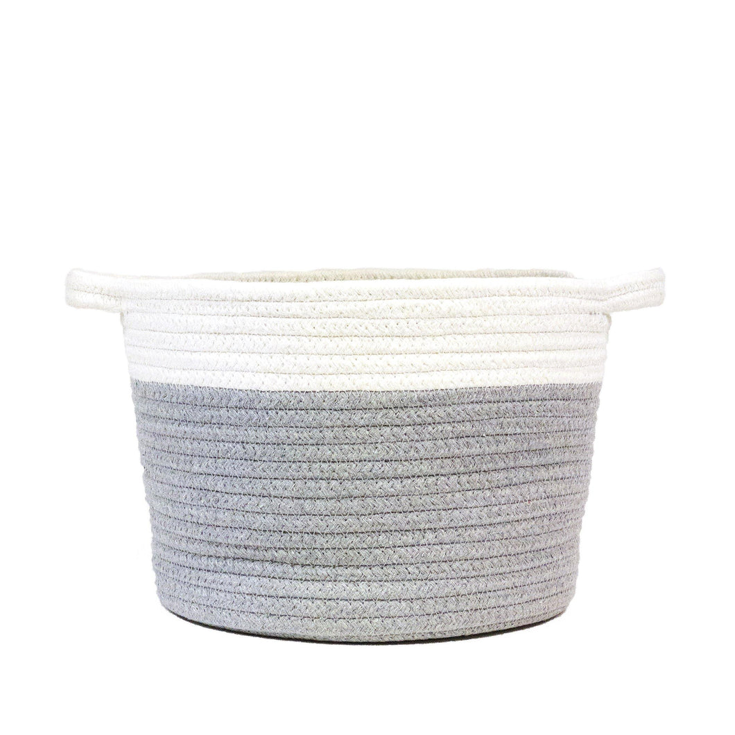 Planter, 11in, Round Basket w/ Rope, White & Grey - Floral Acres Greenhouse & Garden Centre
