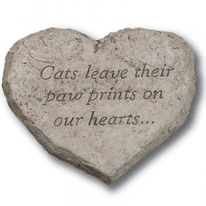 Garden Stone, Heart, Cats Leave Paw Prints