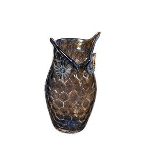 Blue/Amber Clear Glass Owl Vase, Small