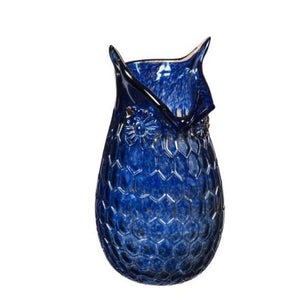 Blue Clear Glass Owl Vase, Medium