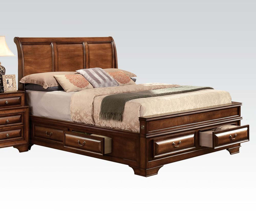 Acme Konane Queen Sleigh Bed with Underbed Storage in Brown Cherry 20450Q image
