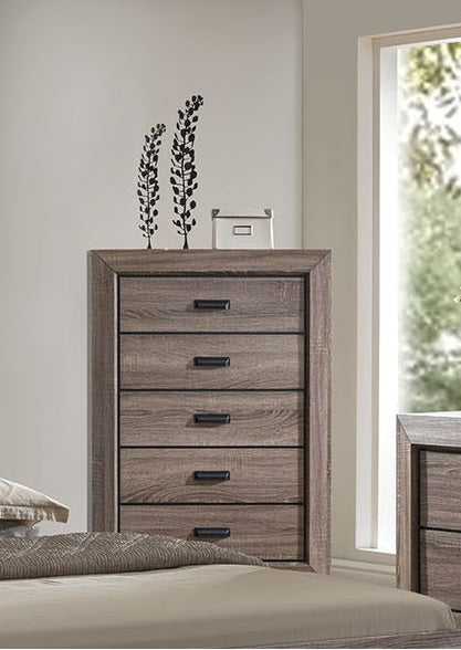 Acme Lyndon 5-Drawer Chest in Weathered Gray Grain 26026 image