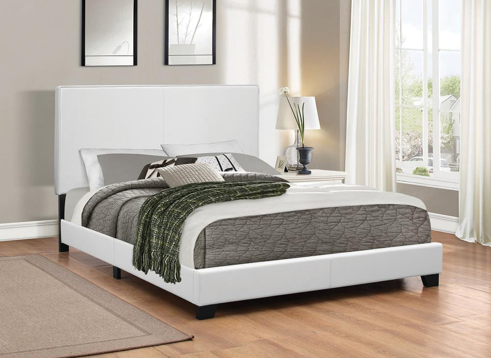 Mauve Upholstered Platform White Twin Bed image