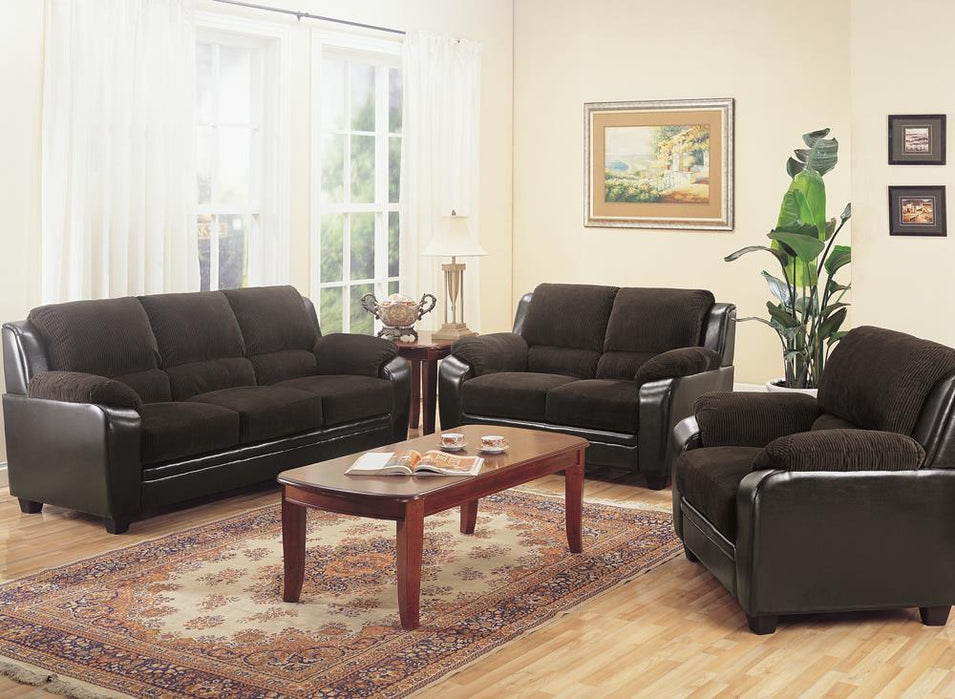 Monika Transitional Chocolate Two-Piece Living Room Set image