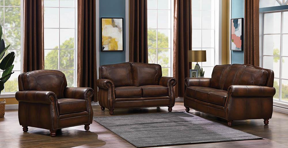 Montbrook Traditional Brown Three-Piece Living Room Set image