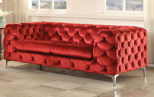 Acme Adam Loveseat in Red Velvet 52796 image