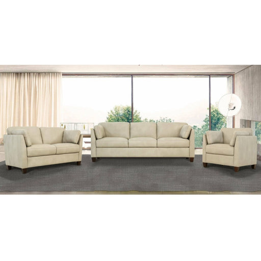 Matias Dusty White Leather 3-Piece Living Room Set image