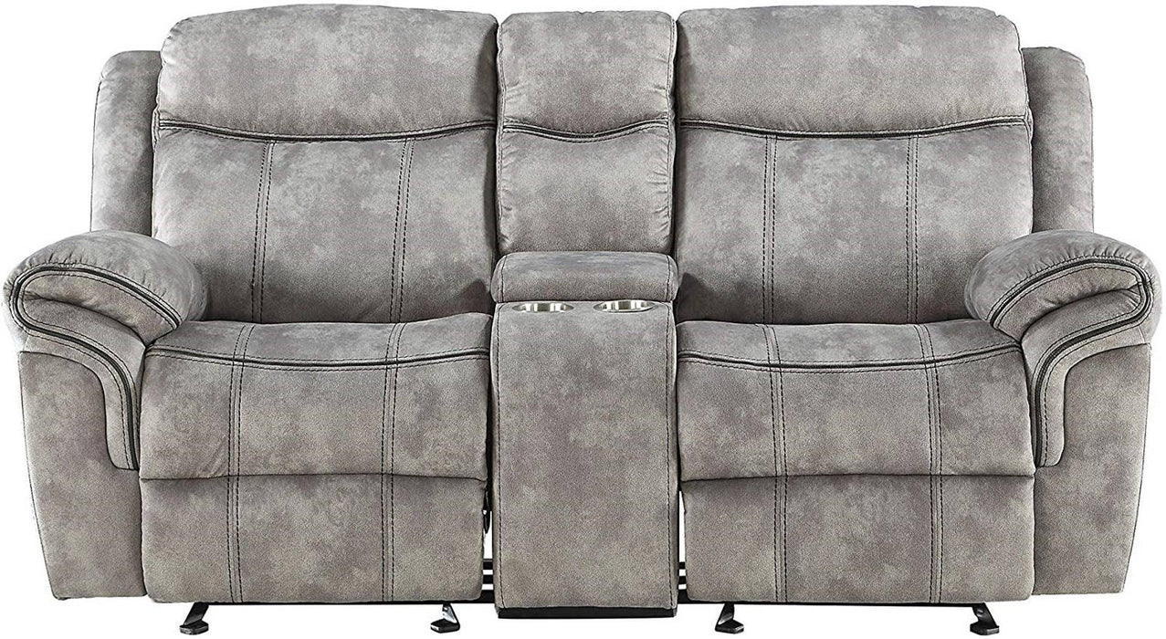 Acme Furniture Zubaida Motion Loveseat with Console in 2-Tone Gray Velvet 55026 image