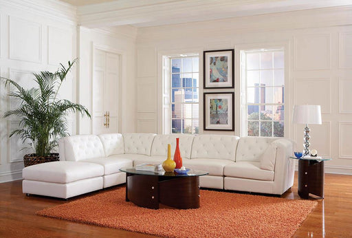 Quinn Transitional White Ottoman image