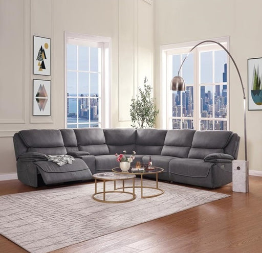 Acme Neelix Power Motion Sectional Sofa in Seal Gray 55120 image