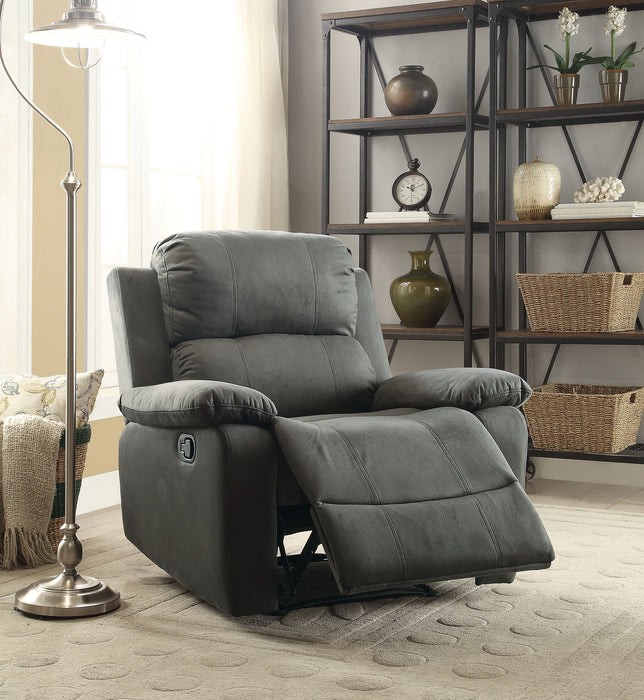 Bina Charcoal Polished Microfiber Recliner (Motion) image