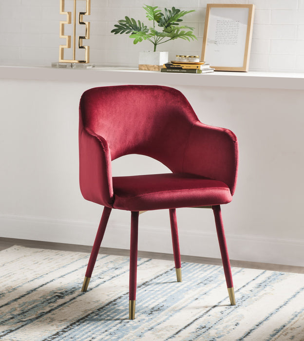 Applewood Bordeaux-Red Velvet & Gold Accent Chair image