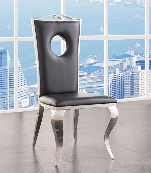 ACME Cyrene Faux Leather Side Chair (Set of 2) in Stainless Steel 62078 image