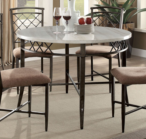 Acme Furniture Aldric Round Leg Dining Table in Faux Marble/Antique 73000 image